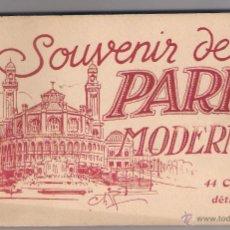 Postales: BLOC 44 CARTES SOUVENIR DE PARIS MODERNE. Lote 53261417