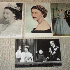 Postales: REINO UNIDO, GRAN BRETAÑA, REINA ISABEL II Y FAMILIA REAL, LOTE DE 4 POSTALES AÑOS 60. Lote 54049589