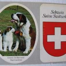 Postales: POSTAL ANTIGUA SUIZA. SUISSE - CHIENS ST. BERNARD. 2 AUTOADHESIVOS. REF. SK 1. . Lote 54207401