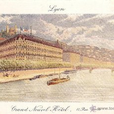 Postales: LYON - GRAND NOUVEL HOTEL-11, RUE GROLIE. Lote 54927551