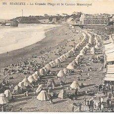 Postales: BIARRITZ - Nº 191. LA GRANDE PLAGE ET LE CASINO MUNICIPAL - CIE. ALSACIENNE DES ARTS PHOTOMECÁNIQUES. Lote 55095161