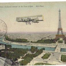 Postales: PS6664 PARÍS 'AÉROPLANE ÉVOLUANT AUTOUR DE LA TOUR EIFFEL'. ND PHOT. CIRCULADA. 1911. Lote 56040197