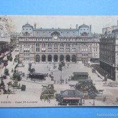Postales: 1181 FRANCIA FRANCE PARIS LA GARE SAINT-LAZARE 1910. Lote 56746480