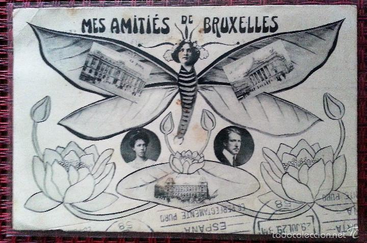 MES AMITIÉS DE BRUXELLES FOTOMONTAJE CIRCULADA BRUSELAS REUS 1929 (Postales - Postales Extranjero - Europa)