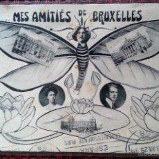 Postales: MES AMITIÉS DE BRUXELLES FOTOMONTAJE CIRCULADA BRUSELAS REUS 1929. Lote 57445314