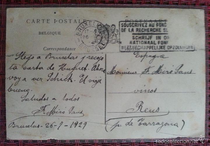 Postales: mes amitiés de bruxelles fotomontaje circulada bruselas reus 1929 - Foto 2 - 57445314