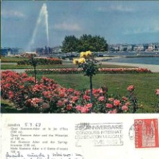 Postales: GENÉVE. QUAI GUSTAVE ADOR ET LE JET D´EAU.CIRCULADA. 1963. Lote 57492044