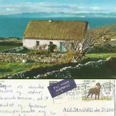 Postales: THATCHED COTTAGE ON THE ARANS ISLANDS. CO. GALWAY, IRELAND. 1983. COLLECT POSTAGE STAMPS.. Lote 57492423