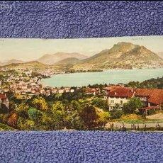 Postales: TARJETA POSTAL ALARGADA. SUIZA. LUGANO, PANORAMA. MONTE BRE. Lote 57919799