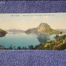Postales: TARJETA POSTAL ALARGADA. SUIZA. LAGO DI LUGANO. CASTAGNOLA CHIESA. MONTE S. SALVATORE. S. GEORGIA. . Lote 57919903