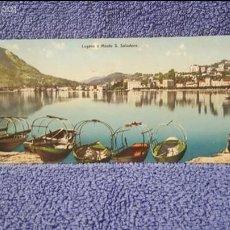 Postales: TARJETA POSTAL ALARGADA. SUIZA. LUGANO E MONTE S. SALVATORE. Lote 57919968