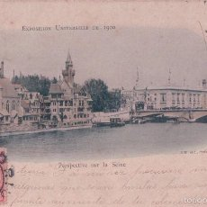 Postales: POSTAL EXPOSITION UNIVERSELLE DE 1900 - PERSPECTIVE SUR LA SEINE - CIRCULADA. Lote 57960742