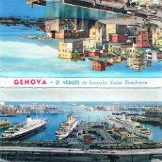Postales: LIBRO DE 21 POSTALES DE GENOVA (ITALIA) AÑOS 50-60. Lote 58440742