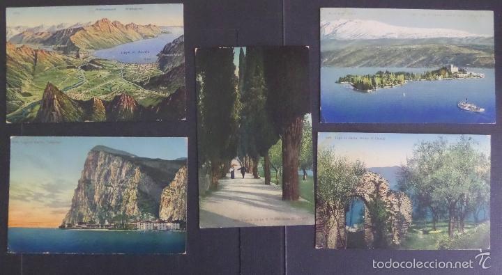 5 ANTIGUAS POSTALES DE FOTOGRAFIAS COLOREADES DEL LAGO DI GARDA, SIN CIRCULAR (Postales - Postales Extranjero - Europa)