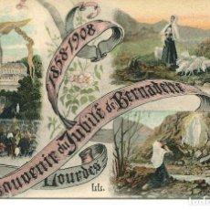 Postales: LOURDES-RECUERDO-JUBILEO DE BERNARDET-1858-1908 RARA. Lote 61533284