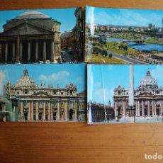Postales: LOTE 4 POSTALES PANORAMICAS DE ROMA 2 CIRCULAR Y 2 SIN CIRCULAR. Lote 61607332