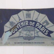 Postales: SOUVENIR DE PARIS 9 CARTES DETACHABLES EN COULEURS. LOTE DE 9 POSTALES. TDKP7. Lote 61917396