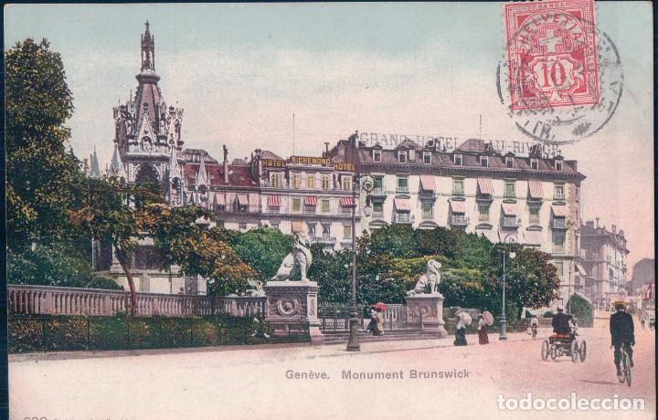 CARTE POSTALE 692 GENEVE MONUMENT BRUNSWICK . PHOTOTYPIE CO NEUCHATEL . TIMBRE DE LA POSTE 1907. (Postales - Postales Extranjero - Europa)