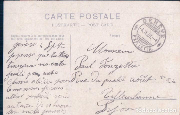 Postales: CARTE POSTALE 692 GENEVE MONUMENT BRUNSWICK . PHOTOTYPIE Co NEUCHATEL . TIMBRE DE LA POSTE 1907. - Foto 2 - 63118160