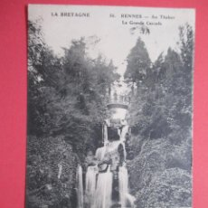 Postales: 2496 FRANCIA FRANCE ILLE ET VILAINE RENNES AU THABOR, LA GRANDE CASCADE 1912. Lote 64893031