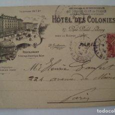 Postales: HOTEL DES COLONIES 1904 CIRCULADA. Lote 73649907