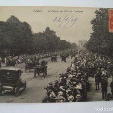 Postales: PARIS AVENUE DU BOIS DE BOULOGNE 1909 CIRCULADA. Lote 73650331