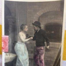 Postales: POSTAL 1903 COLOREADA SIN DIVIDIR CIRCULADA GIJÓN EDICIÓN BLANC ET NOIR 124/7 RIVALITÉ. Lote 82009196