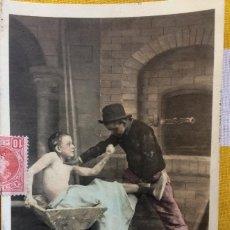 Postales: POSTAL 1903 COLOREADA SIN DIVIDIR CIRCULADA GIJÓN EDICIÓN BLANC ET NOIR 124/8 DANS LE PETRIN. Lote 82009396
