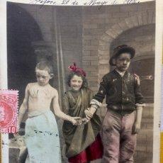 Postales: POSTAL NIÑOS 1903 ACTORES SIN DIVIDIR CIRCULADA EDICIÓN BLANC ET NOIR 124/10 LA PAIX EST SIGNÉE!. Lote 82009800