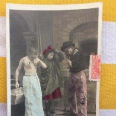 Postales: POSTAL 1903 COLOREADA SIN DIVIDIR CIRCULADA GIJÓN EDICIÓN BLANC ET NOIR 124/5 LUIAUSSI CONTEFLEURETT. Lote 82008448