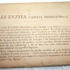 Postales: LES EYZIES, CAPITAL PREHISTÓRICA FRANCIA 10TARJETAS CONTIENE CURIOSA PUBLICIDAD DE ÉPOCA DE BROCUROL. Lote 83985408