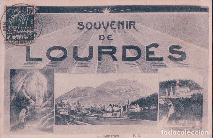 POSTAL LOURDES 96 - SOUVENIR DE LOURDES - P DOUCET - CIRCULADA (Postales - Postales Extranjero - Europa)
