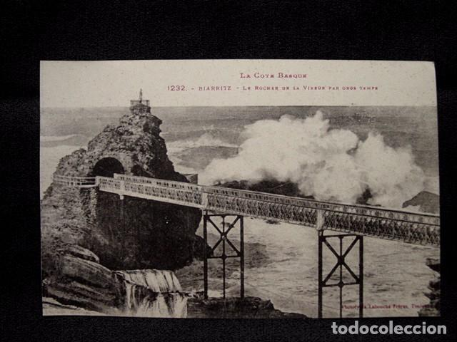 (XEU-19) POSTAL BIARRITZ LE ROCHER DE LA VIERGE PAR GROS TEMPS- LADO VASCO –ED. LABOUCHE-PPIO 1900 (Postales - Postales Extranjero - Europa)