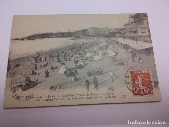 BIARRIZ 1919. EL CASINO MUNICIPAL Y PLAYA. PAÍS VASCO (FRANCIA) (Postales - Postales Extranjero - Europa)
