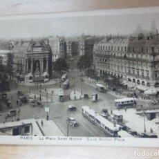 Postales: TARJETA POSTAL PARIS LA PLACE SAINT MICHEL AÑOS 30. Lote 90647675