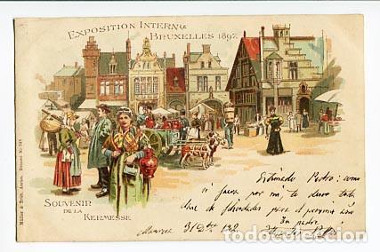 24fd5d971 BRUSELAS BRUXELLES 1897 SOUVENIR LA KERMESSE ED. MÜLLER   TRUB.  LITOGRÁFICA