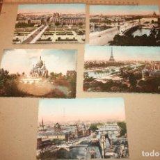 Postales: FRANCIA.CINCO POSTALES DE PARIS....EN FLANANT. EDICIONES YVON. Lote 91510385