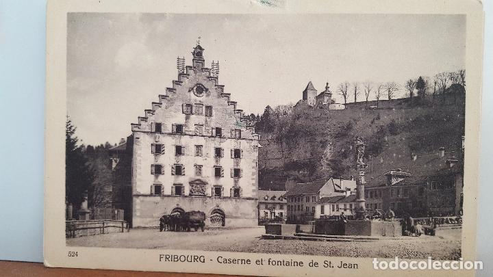 POSTAL ANTIGUA DE SUIZA: FRIBOURG.- CASERNE ET FONTAINE DE ST. JEAN (Postales - Postales Extranjero - Europa)