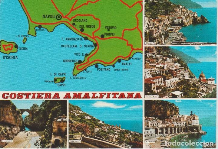italia costa amalfitana mapa costa amalfitana (italia) . mapa  sin circul   Comprar Postales  italia costa amalfitana mapa