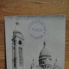 Postales: PARIS , EL SACRE COEUR SELLO DE LA BASILICA , AÑO 1912. Lote 98723695