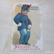 Postales: ANTIGUA POSTAL DEL MANNEKEN PIS DEBRUSELAS (BELGICA) VESTIDO DE SOLDADO . Lote 104572267