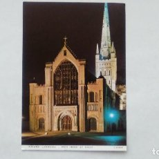 Postales: POSTAL NORWICH CATHEDRAL, WEST FRONT BY NIGHT. JUDGES POSTCARDS C4086X. Lote 108236335