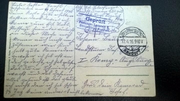 Postales: POSTAL ESCRITA STRASSBURGO 1916 - Foto 2 - 112109147