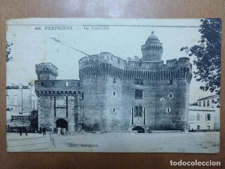 POSTAL Nº 606 PERPIGNAN LE CASTILLET CAFE DE LA POSTE EDICION NAVARRO CIRCULADA 1918 (Postales - Postales Extranjero - Europa)
