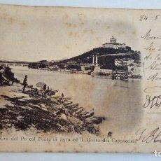 Postales: POSTAL ANTIGUA DE TORINO RIVA DEL PO COL PONTE DI FERRO ED IL MONTE DEI CAPPUCCINI 1901. Lote 116110847