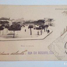 Postales: POSTAL ANTIGUA POVOA DE VARZIM 1901 PRAÇA DO ALMADA CIRCULADA Y ESCRITA. Lote 116166815