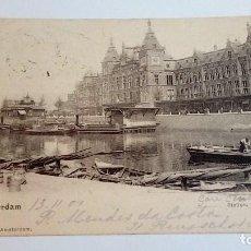 Postales: POSTAL ANTIGUA AMSTERDAM STATION 1901 UITG. N.J. BOON, AMSTERDAM CIRCULADA Y ESCRITA. Lote 116456887