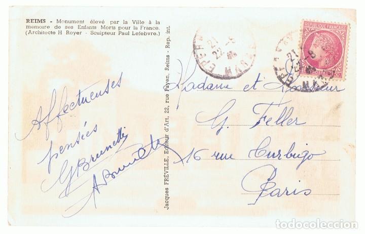 Postales: POSTAL REIMS MONUMENT ÉLEVÉ PAR LA VILLE Á LA MEMOIRE DE SES ENFANTS MORTS POUR LA FRANCE - Foto 2 - 121017923