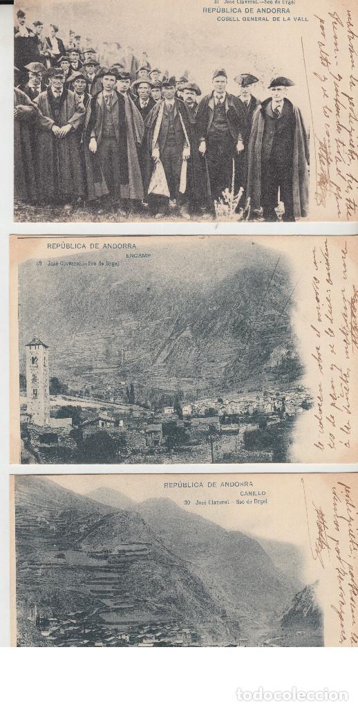 LOT 3 POSTALS REPUBLICA ANDORRA CLAVEROL CANILLO ENCAMP COSELL VALL NO PARTIDA 29-30-31 HAUSER (Postales - Postales Extranjero - Europa)