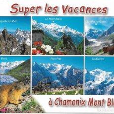 Postales: CHAMONIX MONT BLANC, LE PAYS DU MONT BLANC, HAUTE SAVOIE - EDY CAMBÉRY - CIRCULADA. Lote 122216303